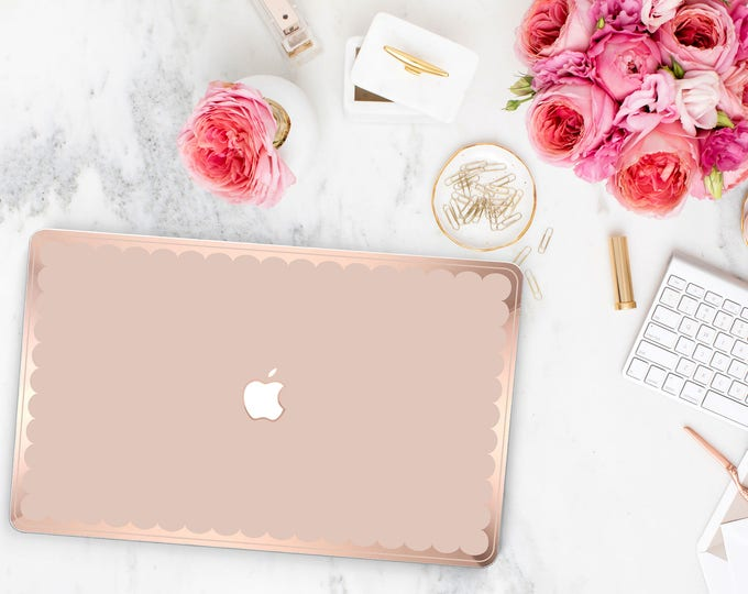 Featured listing image: Macbook Pro 13 Case Macbook Air Case Laptop Case Macbook Case . Ultra Soft Pink French Rose and Scallop Rose Gold Chrome Edge