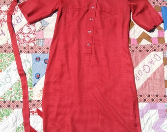 1960s Made in California by Shirt Dresses Inc. red dress // medium