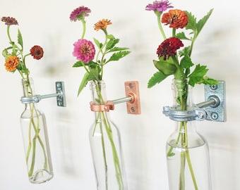 3 Wine Bottle Wall Flower Vases - Gift for Mom - Wall Flower Vase - Spring Wall Decor  - Wine bottle Decor - Spring flowers