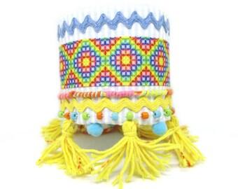 Ethnic bracelet - Bohemian Bracelet - Aztec bracelet - wide bracelet entirely handmade