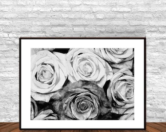 Flower Print, Flower Poster, Rose Print, Rose Wall Decor, Rose Wall Art, Roses Black and White, Black and White Decor