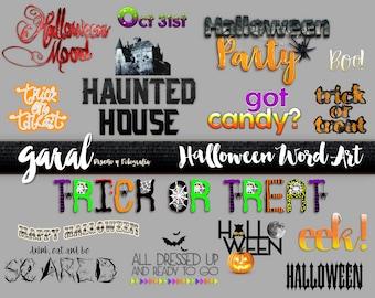 Digital and Printable Word Set Art - Instant Download - Happy Halloween - Seasonal