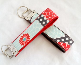 Keychain Wristlet Key fob -Gerbera Daisies in Aqua, Red and Gray - Choose your webbing color