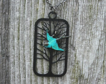 Tree Necklace , Blue Bird and Winter Black Tree Necklace, Patina Bord Necklace, Tree of Life Necklace, Black Jewelry
