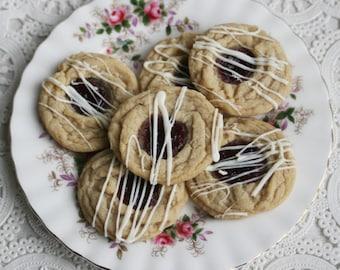White Chocolate Thumbprint Cookies with Seedless Raspberry Jelly (ONE DOZEN)