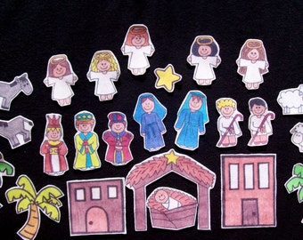 Printable Felt Board Nativity , Advent Calendar, Flannel Board Story, imaginative, pretend play, homeschool, Bible story, Sunday School