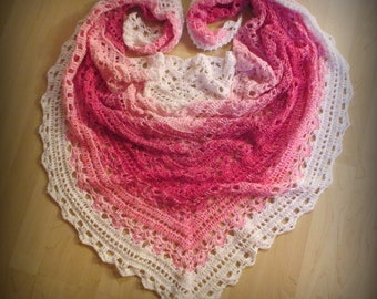 Crochet Shawl / Stole / Triangular Shawl / Triangle Scarf / Color Gradient / Cotton Blend / Handmade / Made in Germany / White, Pink