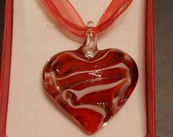 Stunning red stripey heart necklace on organza ribbon