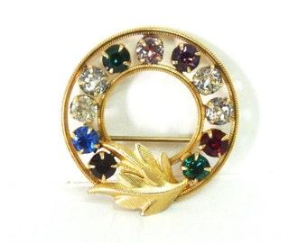 50s Brooch Van Dell 14K Gold Ruby Emerald Rhinestone, Sapphire, Gold Leaf, Wedding Dress pin
