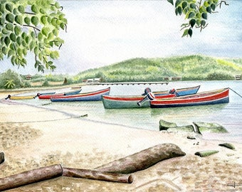Limited number reproduction of my original watercolor: Martinique, Tartan range.