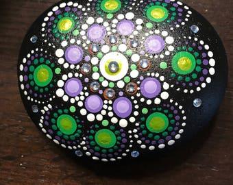 Hand Painted Mandala - Water Liliy with Swarovski Crystals
