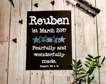 Personalised New Baby Frame - Baby Boy - Chalkboard Bible Verse - Wall Decor - Nursery Decor -