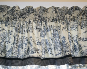 """Black Beige Colonial Tradition Scenic Toile  Valance 17"""" x 81"""" Can Alter Curtain Window Treatment"""