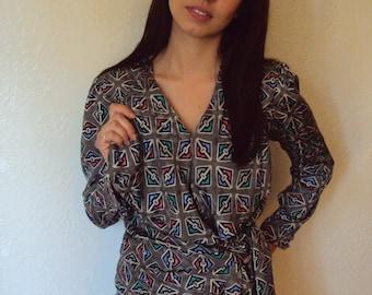 Vintage 80s Geometric Custom Silk Wrap Blouse