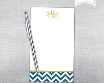 Chevron notepad. Chevron and monogram notepad. Personalized Notepad.