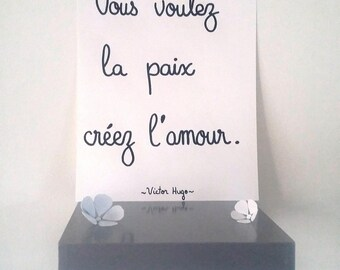 """inspirational """"Victor Hugo""""poster illustrated by hand"""