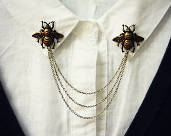 brass bee collar pins, collar chain, collar brooch, lapel pin, bee pin, bee brooch, bumble bee jewelry, bee accessory