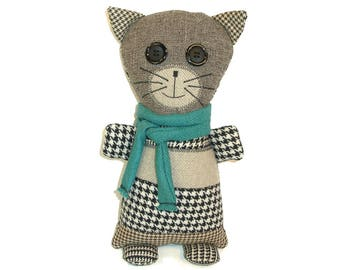 DREW The Misfit Moggy cat Handmade recycled scrap fabric Stuffed animal cat plushie toy Rag doll Cat art doll Colorful plush Cat lover gift
