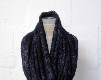 Black Infinity Scarf, Chunky Knit Scarves, Sweater Knit, Winter Scarves, Fashion Accessories,