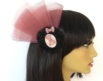 Pink Fascinator, Black Hair Flower, Pink Corset, OOAK Fascinator, Black Fascinator