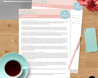 Session Contract Form - Photoshop Template for Photographers - INSTANT DOWNLOAD - SC004