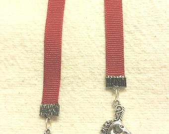 "10"" burgundy grosgrain ribbon bookmark with celtic charm and unicorn charm"