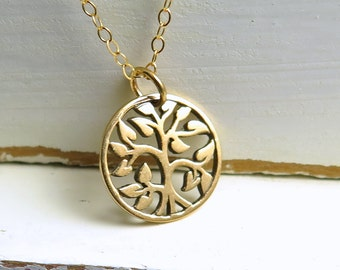 Tree Of Life Necklace, Gold Tree Of Life Necklace, Family Tree Necklace, Spring Tree Of Life Necklace