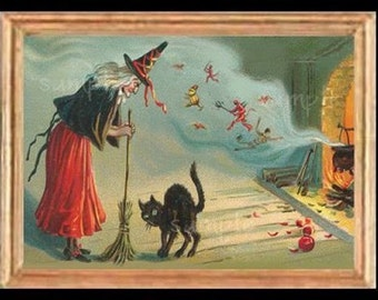 Halloween Witch Miniature Dollhouse Art Picture 6195