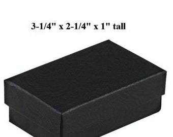 Black Gift Box - Cotton Filled - 3 1/4 inches x 2 1/4 inches - Jewelry Gift Box