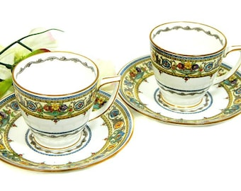 Two Minton's Demitasse Cups and Saucers Plymouth Pattern