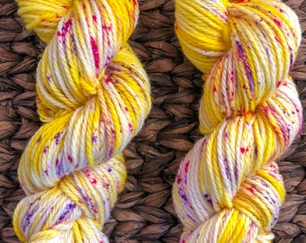 Dreaming of Spring, bulky yarn, speckled yarn, hand dyed yarn, 100% Superwash Merino 3-Ply