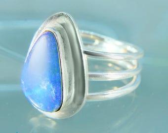 Amazing Australian Opal Sterling Silver Ring Size 8 SR531
