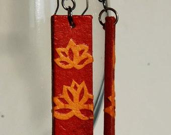Red Lotus Flower Hanji Paper Earrings Red Yellow Dangle Earrings Hypoallergenic hooks Lightweight Ear rings