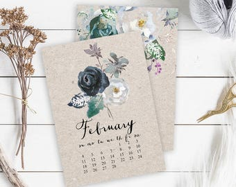 Floral Calendar 2018 Printable Wall Calendar 2018 Floral Desk Calendar Printable, Calendar Wall Art Digital Calendar 2018 Digital Download