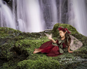 Enchanted Waterfall Digital Background for Composite Fairy Pictures