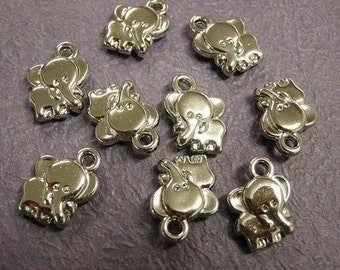 24pc antique silver acrylic elephant charms-985Ax2