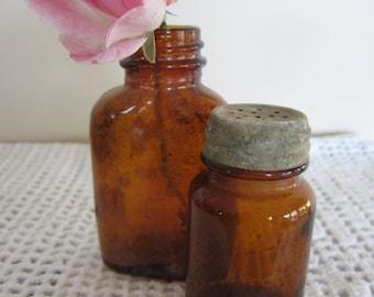 Antique Small Brown Glass Bottles Zinc Shaker Cap Set of 2