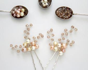 ESME Pearl & Crystal Hair Pins x2, Wedding Hair Pins, Bridal Hair Pins, Wedding Hair Accessory, Hair Picks,Pearl Hair Pins, Bridesmaids Pins