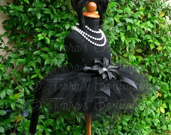 "Midnight - Black Cat Tutu Costume Set - Sewn 8"" pixie tutu, black kitty ears headband, removable tail - newborn up to 12 months"