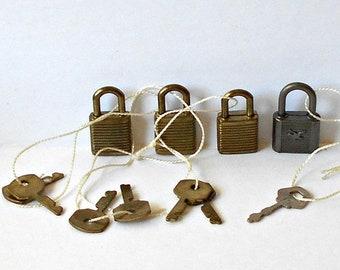 Vintage very Small Padlocks with keys Lot of 4