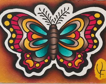 Butterfly Tattoo Art Watercolor Painting