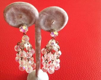 Vintage retro art deco clear aurora borealis glass cut beaded  dangly chandelier drop clip on ( screw back) 1940s 1930s earrings  party prom