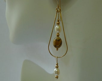 Gold-filled Picture Jasper and Pearl Teardrop Earrings