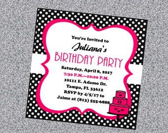 Polka Dot Birthday Invitation, Teen Birthday Invitation, Tween Birthday Invitation, Black and White Birthday Invitations, *Printable*