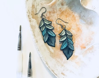 Teal Blue Faux Feather Earrings Hand Painted Watercolor