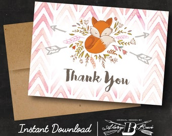 Fox Thank You Card   Instant Download Printable File Digital File DIY   Baby Shower Fox Thank You Card Woodland Forest Woodsy Fox