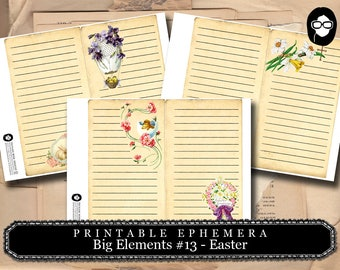 Blank Journal Cards - Big Elements #13 Easter - 3 Page Instant Download - floral clipart, journaling cards, journal card, easter printable