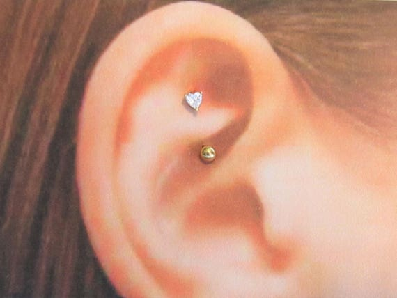 Rose Gold Plated Rook Piercing 3mm Heart16g8mm
