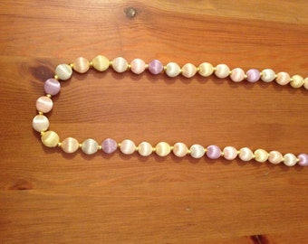 Silk Bead Vintage Necklace - Tri-Colored Pastel Silk Beaded Necklace 28in Pink Yellow Lavender