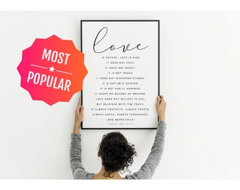 Love is patient love is kind, Wedding gift, Family sign, Wedding decor, Wedding signs, Couples gift, Bible verse wall art, 1 corinthians 13